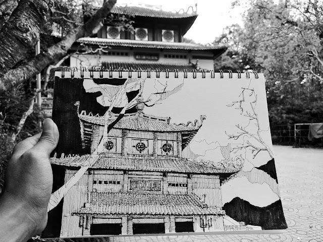 Trí Núi ký họa đền Hùng trong Thảo Cầm Viên