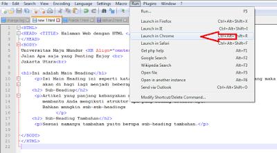 Cara menjalankan program html