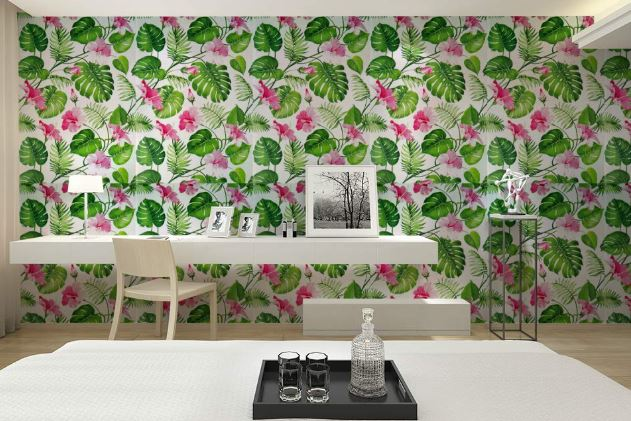 Wollzo Leaves and Flowers self Adhesive Wallpaper