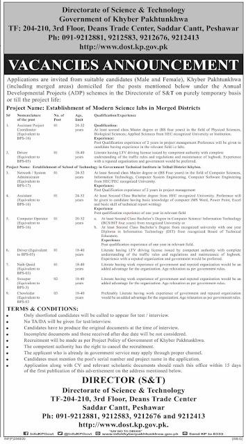 Directorate of S&T Peshawar jobs 2020