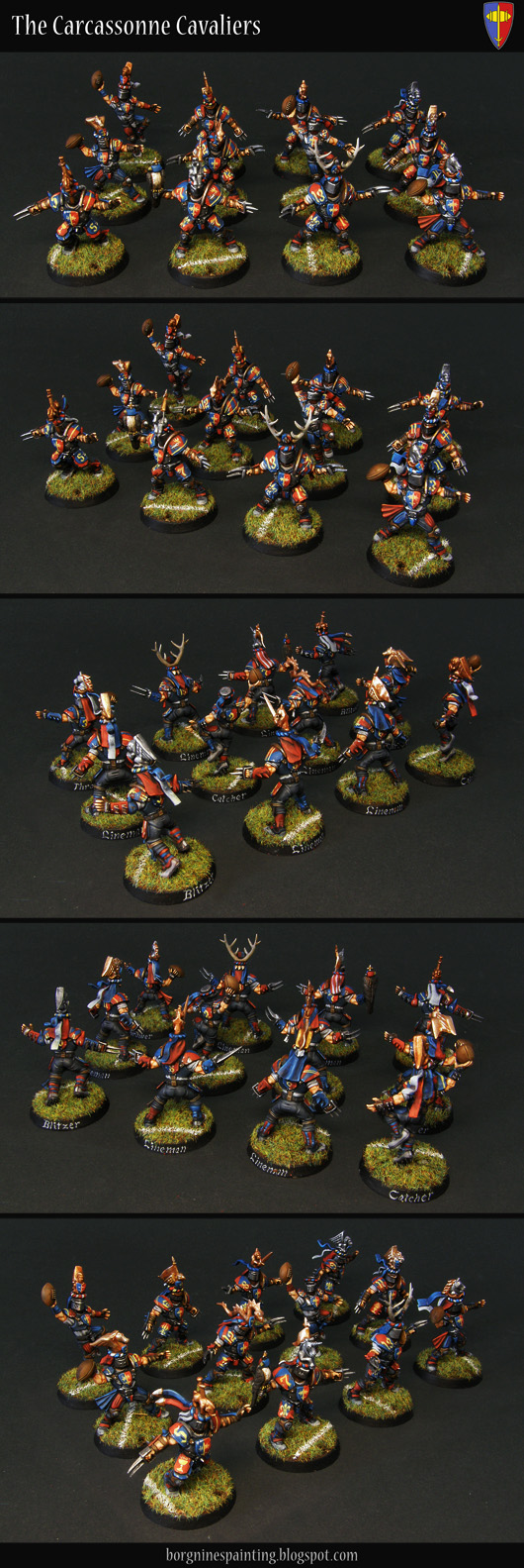 Tabletop miniature Blood Bowl players - a converted Human Team, with their heads replaced with Bretonnian helmets. They have red/blue color scheme with yellow markings - and here they are presented together as a 12-man-strong group.