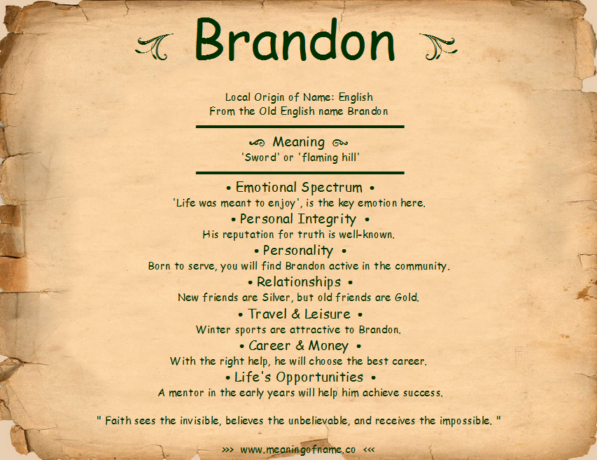 Brandon - Meaning of Name - photo#21