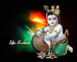 Baby Krishna wallpaper In Black Background