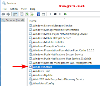 Cara mematikan search index windows 10
