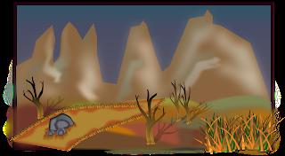 paisaje de montaña desertico vectorizado