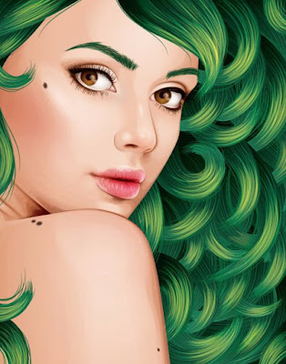 Vector Wanita Cantik Rambut Gelombang 9