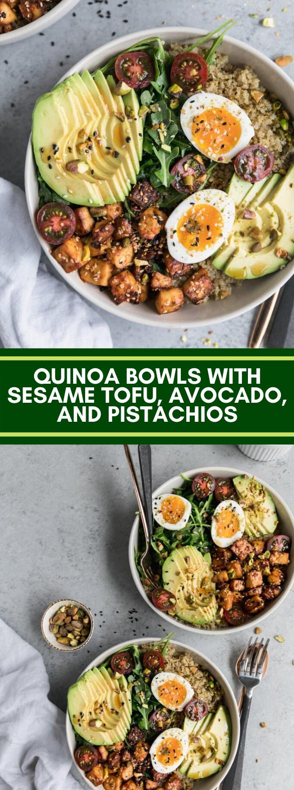 Quinoa Bowls with Sesame Tofu, Avocado, and Pistachios #vegetarian #dinner #healthy #quinoa #veggies