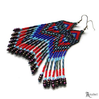 Длинные серьги из бисера (в этническом стиле)