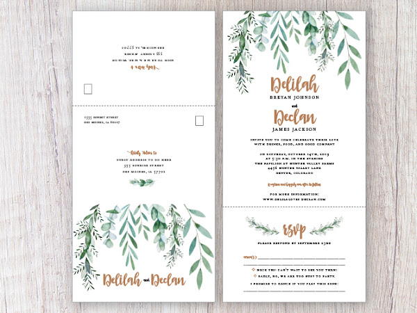 Deliliah Greenery Wedding Invitation Suite