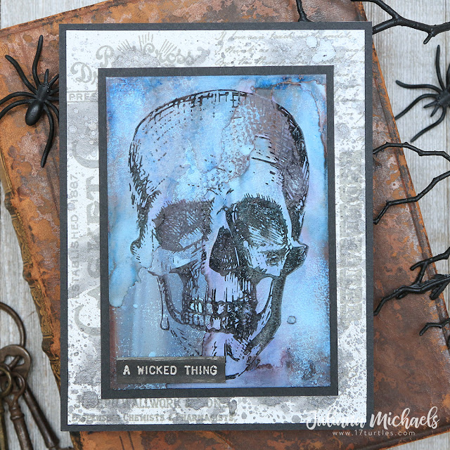 A Wicked Thing Halloween Card by Juliana Michaels featuring Tim Holtz Stampers Anonymous Rest In Peace Stamp Set and Alcohol Ink