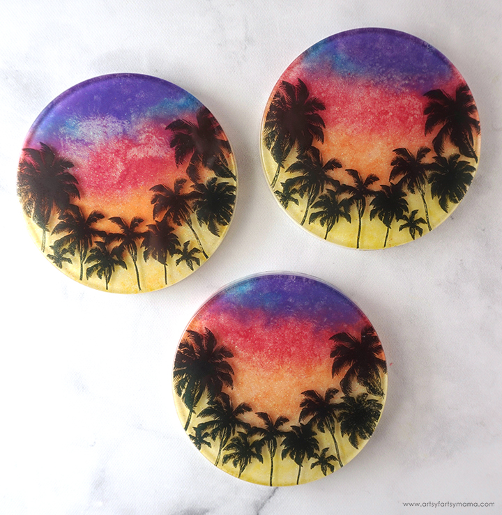 Resin Sunset Coaster Set