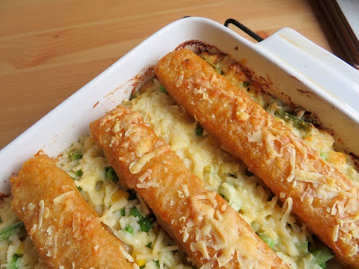 Fish Stick Casserole with Cheesy Vegetable Rice