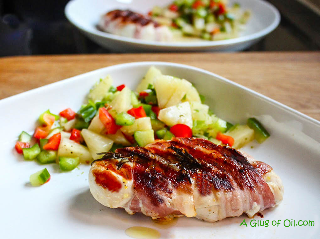 Bacon Wrapped Chicken with Pineapple Pepper and Chilli Salsa