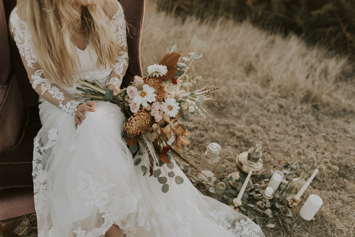 beautiful, fall bride in a wedding dress.