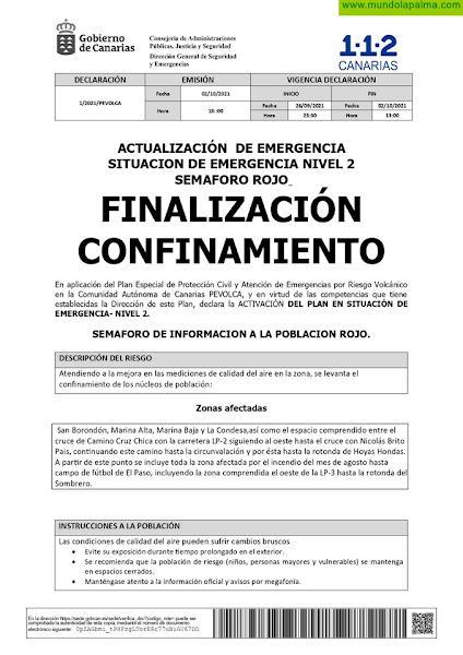 Se levanta el confinamiento en Tazacorte, El Paso y Los Llanos de Aridane