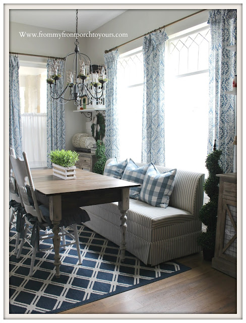 Blue & White Decor-Custom Banquette-Blue ticking Stripe-Buffalo Check-Damask Curtains-DIY-Planked Dining Table-Breakfast Nook Makeover-From My Front Porch To Yours