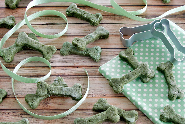 Homemade cucumber and salmon baked dog treats shaped like bones