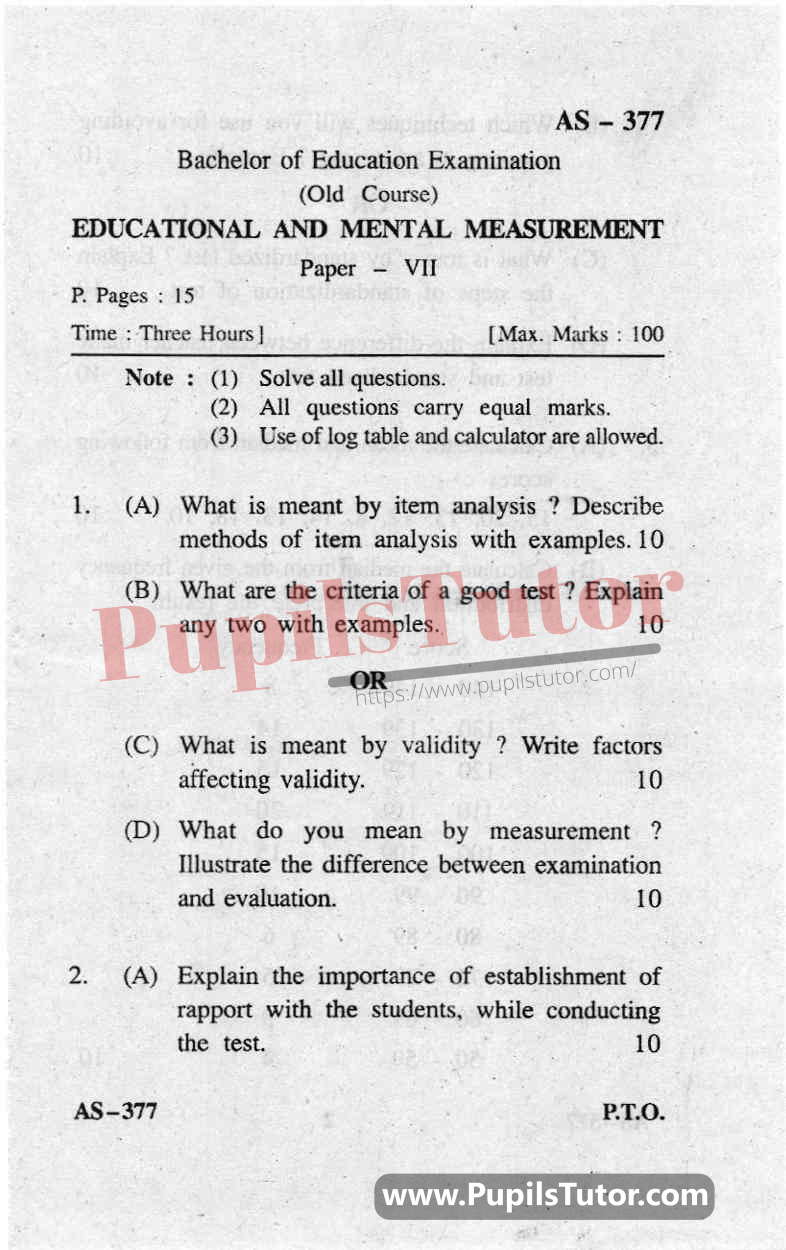 Educational And Mental Measurement Question Paper In English