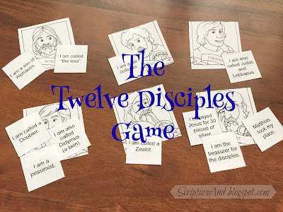 Free Printable Twelve Disciples Review Game - a Good Review after Twelve Ordinary Men | scriptureand.blogspot.com