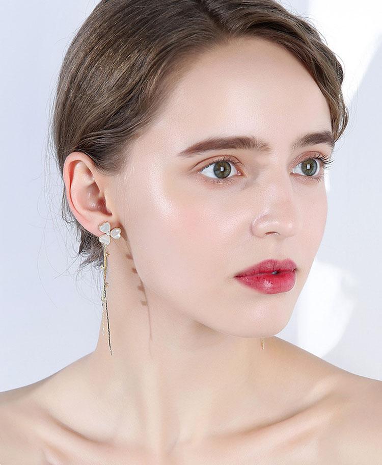 幸運草鋯石流蘇耳環