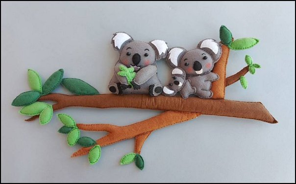 Koala nursery wall hanging  koala bear room wall art  mother baby Australian koala bedroom decor