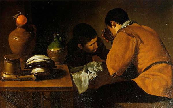 Диего Веласкес - Двое молодых людей за небольшим столиком (1622)