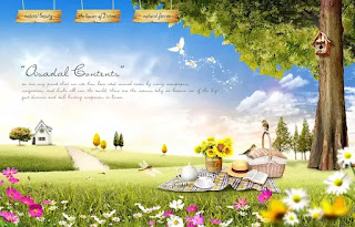 plantilla de fondo de paisaje de picnic para fotomontajes