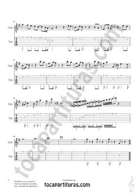 Hoja 4 Partitura y Tablatura de Pas de Deux para Guitarra (Guitar Fingerings Sheet Music with numbers Tabs)