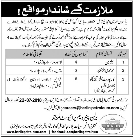Berlin Petroleum Pvt Limited Jobs July 2018 for Sales Man and others