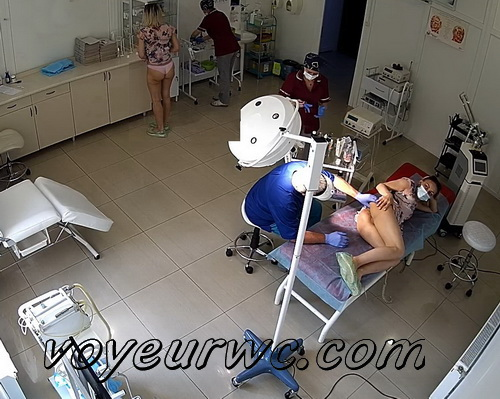 Girls at the doctor's appointment for ultrasound the  pelvis via the transvaginal approach (Vaginal Ultrasound. Rectal Exam SpyCam 10-15)