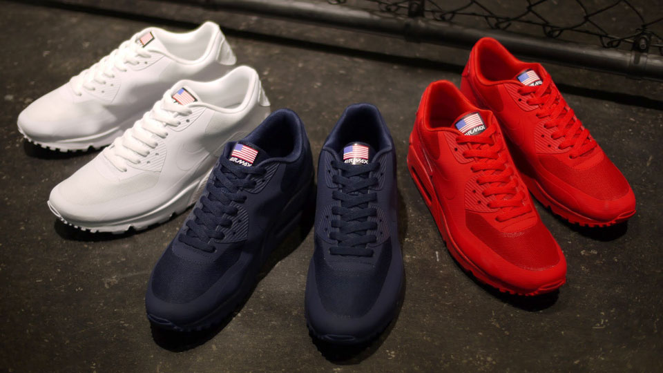 Nike Air Max 90 USA Flag Hyperfuse QS Sport Red 613841 660 Mens Womens Running Shoes 613841 660