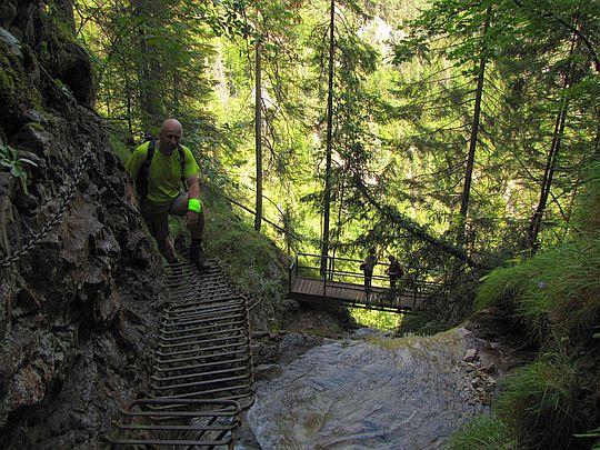 Stupaczki oraz najwyżej położony mostek nad Wodospadem Welonowym.