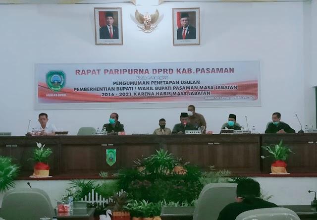 DPRD Pasaman Menggelar Paripurna  Pemberhentian Bupati dan Wakil Bupati