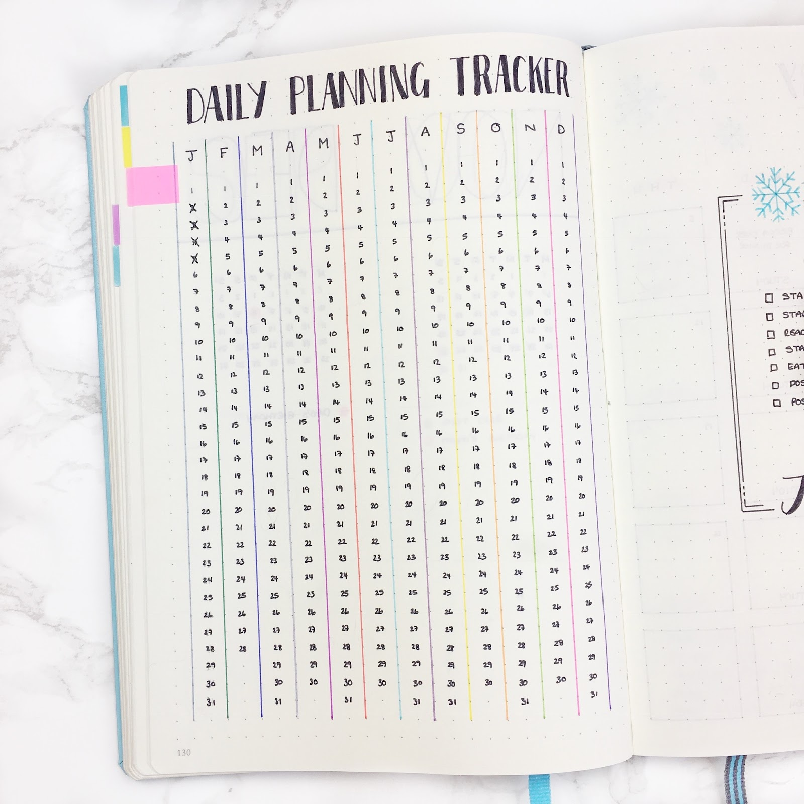 Bullet Journal Daily Planning Tracker Template