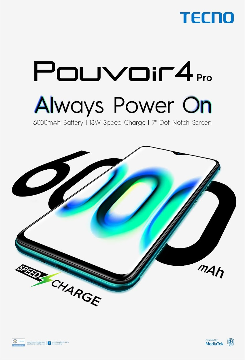 Pouvoir 4 by TECNO Mobile, A Smarphone that Can Last Up To 4 Days Without Charging