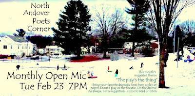 North Andover Poets Corner Monthly Open Mic, Tuesday February 23 7 PM