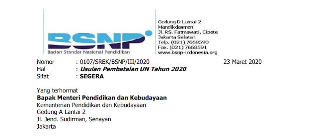 BSNP, Usulan Pembatalan Ujian Nasional Tahun 2020