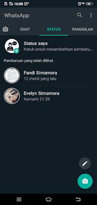 Tampilan Daftar Status WhatsApp Dark Mode