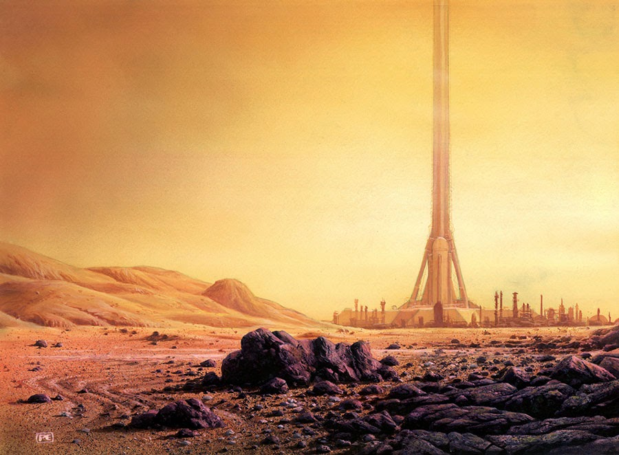 Space elevator from Mars by Peter Elson