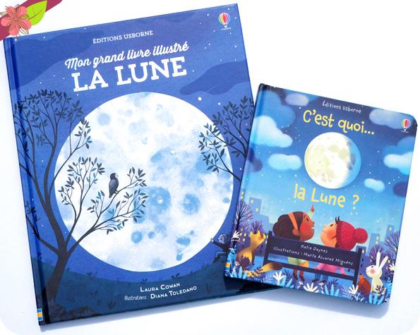 C'est quoi la Lune ? et Mon grand livre illustré La Lune - Usborne