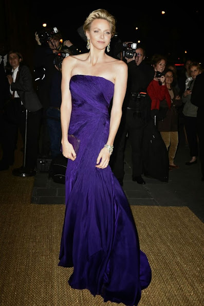 Princess Charlene attended a Ralph Lauren Collection Show and private dinner at Les Beaux-Arts in Paris