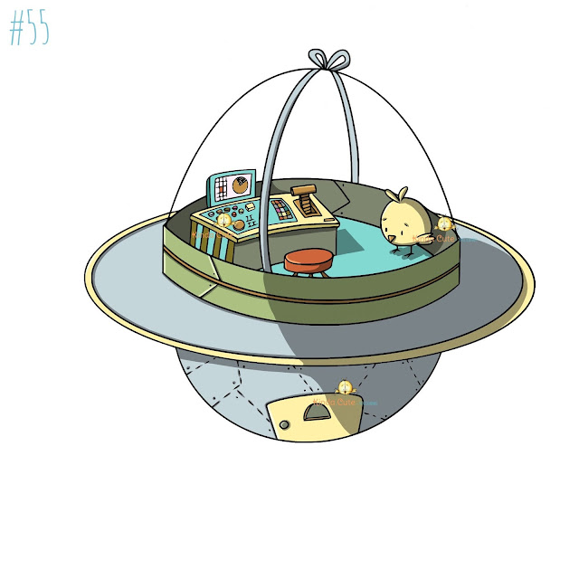 chicken alien spaceship digital stamp