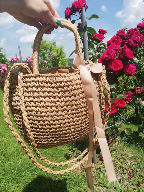 bag, cute, torba, plaža, beach, beach bag, bow, mašna, ceker,roses, flowers, rose, ruže, cvijeće