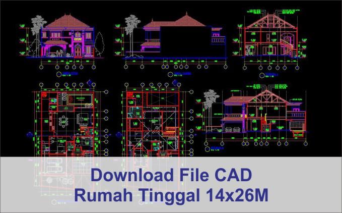 download rumah 14x26 File AutoCad