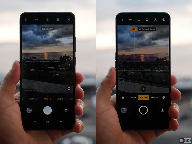 The camera UI of both phones