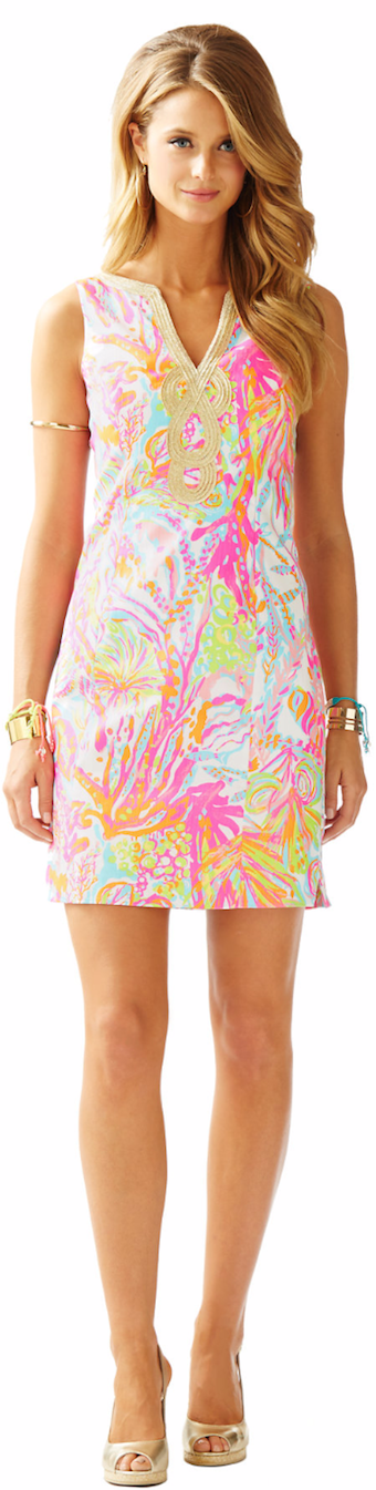LILLY PULITZER JANICE SHIFT DRESS RESORT WHITE SCUBA