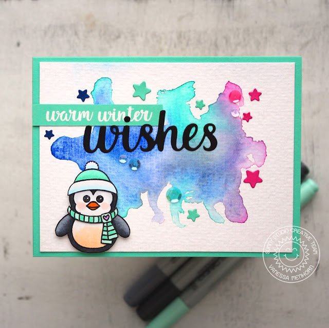 Sunny Studio Stamps: Bundled Up Watercolored Background Winter Wishes Card by Vanessa Menhorn
