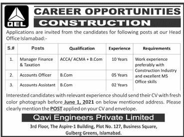 Qavi Engineering Private Limited Jobs 2021 in Pakistan