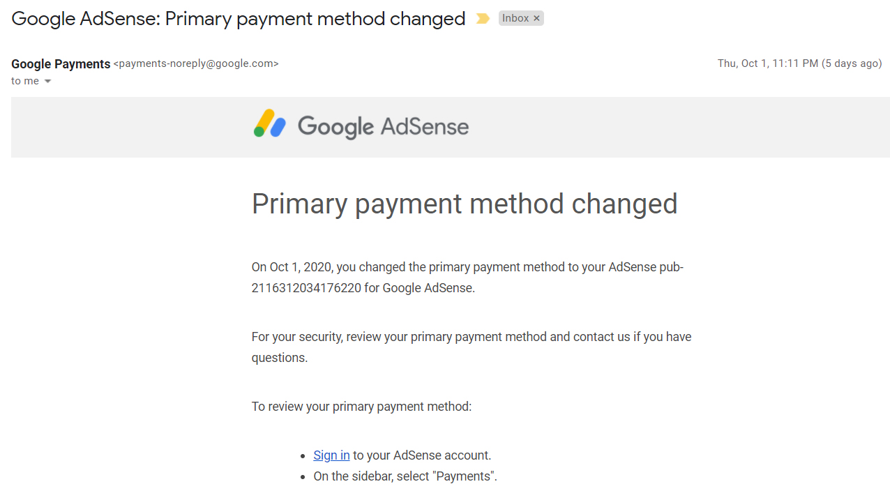 Google AdSense: Primary payment method changed