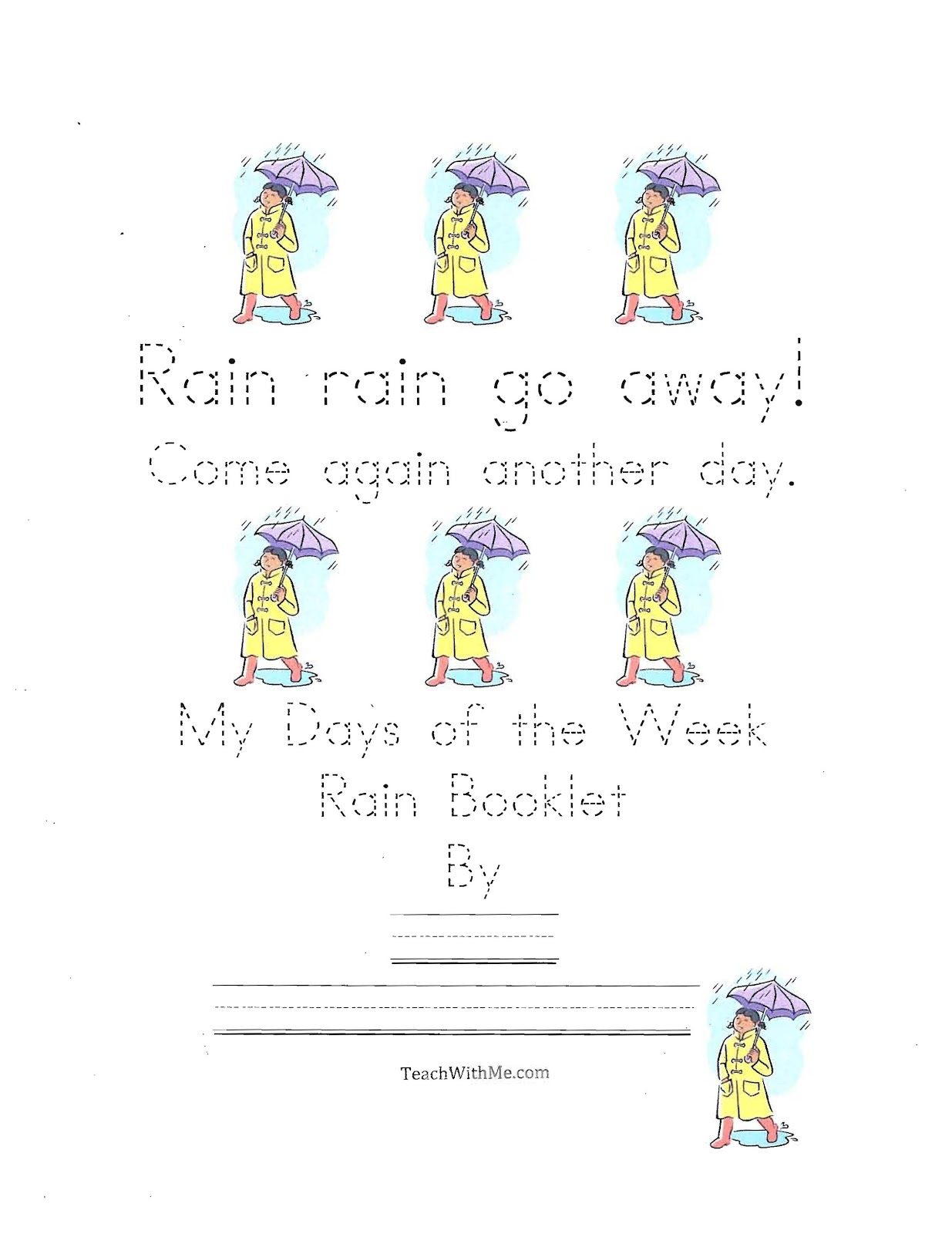 Classroom Freebies Rain Rain Go Away Easy Reader Booklet